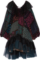 Chloé Ruffled Tulle And Printed Silk-georgette Dress - Black