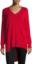 Vince Camuto Ribbed Long-Sleeve Asymmetric Top, Crimson