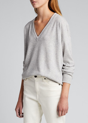 Brunello Cucinelli Monili Trim Wool-Blend Sweater
