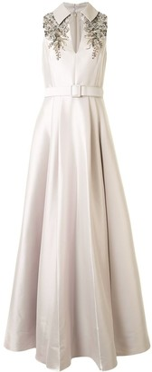 Badgley Mischka Embroidered Sleeveless Gown