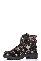 Quiz Black Foral Embroidered Buckle Ankle Boots