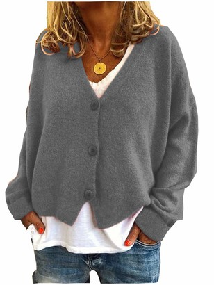 N \ A Long Cardigans for Women Waterfall Cardigans for Women Sweater Wrap Cardigan Women Cardigan for Women Long Sleeve Soft Chunky Knit Sweater Cardigan Women Winter Warm Open Cardigan Gray S
