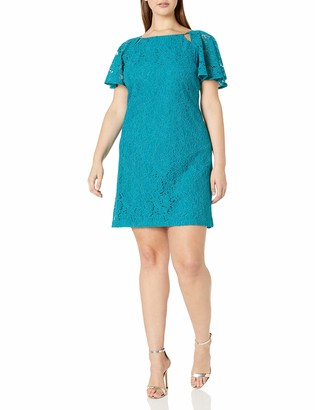 Julian Taylor Women's Plus Size Full Figured All Over Lace Shift Dress