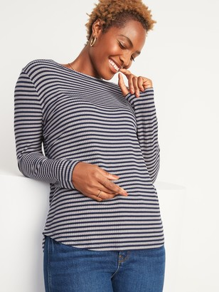 Old Navy Luxe Rib-Knit Metallic-Stripe Long-Sleeve Tee for Women
