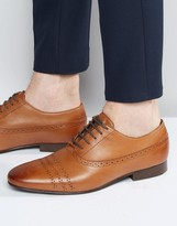 Asos Lace Up Shoes in Tan Leather With Perforation