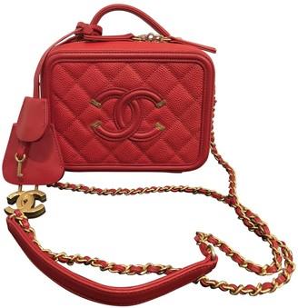Chanel Vanity Red Leather Handbags