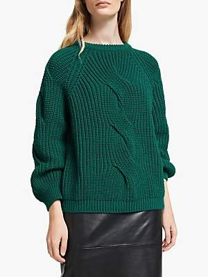 John Lewis & Partners Cable Knit Front Sweater