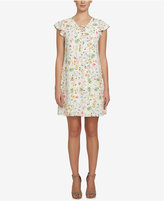 CeCe Lace-Up Floral-Print Shift Dress