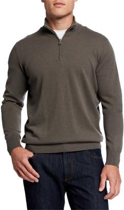 Ghiaia Men's Solid Cashmere Half-Zip Sweater