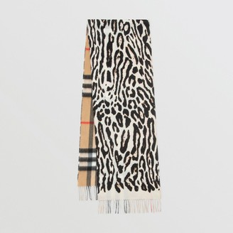 Burberry Leopard Print and Check Cashmere Scarf