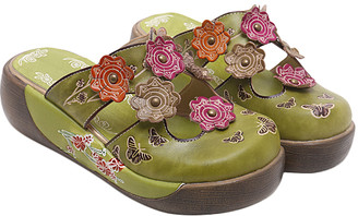 Sweet Acacia Women's Clogs Green - Green Floral-Sole Leather Clog - Women
