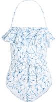 Tory Burch Sapri Ruffled Printed Swimsuit - Light blue