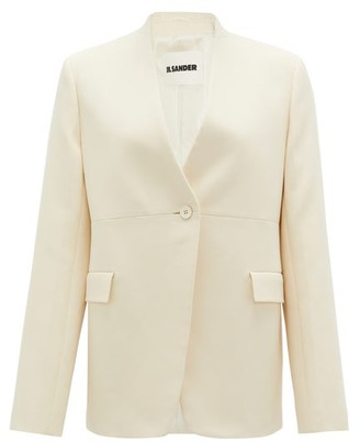 Jil Sander Single-breasted Collarless Cotton-blend Jacket - Ivory