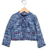 Oscar de la Renta Girls' Tweed Grosgrain-Trimmed Jacket