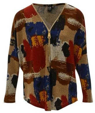 Dorothy Perkins Womens *Izabel London Multi Colour Brushstroke Print Zip Jumper