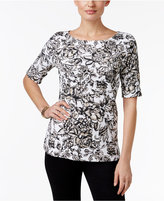 Karen Scott Printed Elbow-Sleeve Top, Only at Macy's