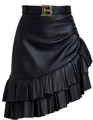 Balmain Asymmetric Ruffled Leather Skirt