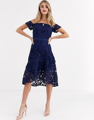 Chi Chi London bardot lace mini dress with flippy hem in navy