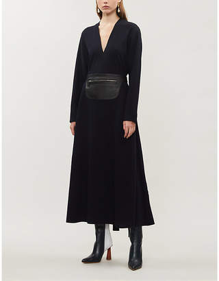 Lanvin Belted A-line wool midi dress