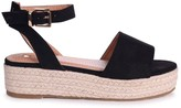 Linzi DYNASTY - Black Suede Espadrille Inspired Two Part Flatform With Buckle Detail