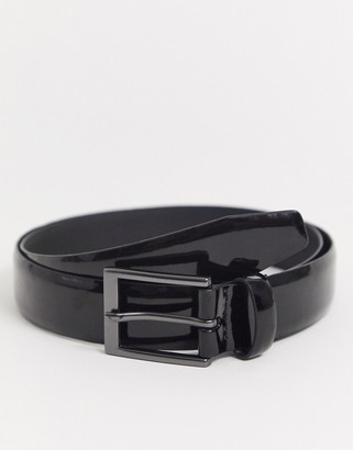 Moss Bros faux leather patent belt in black