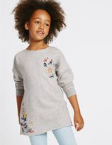 Marks and Spencer Cotton Rich Embroidered Sweatshirt (3-14 Years)