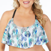 Boutique + + Flounce w/Macrame Back Swimsuit Top-Plus