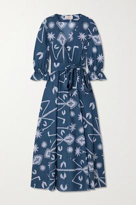 ARoss Girl x Soler Amanda Belted Printed Cotton-voile Maxi Dress