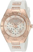 GUESS Women's U0653L4 Sporty Rose Gold-Tone Stainless Steel Watch with Multi-function Dial and White Strap Buckle