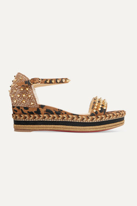 Christian Louboutin Madmonica 60 Spiked Leopard-print Suede Espadrille Wedge Sandals - Leopard print