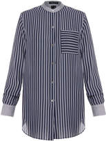 Theory Ziria Navy Stripe Silk-Georgette Shirt