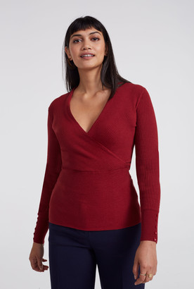 Long Tall Sally Ribbed Wrap Front Sweater