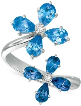 Macy's Blue Topaz (3 ct. t.w.) & Diamond Accent Floral Wrap Ring in 14k Gold