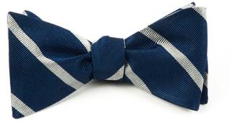The Tie Bar Trad Stripe True Navy Bow Tie