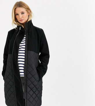 Mama Licious Mamalicious Maternity quilted coat with post birth functionality in black