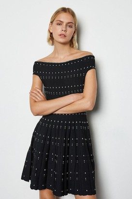Karen Millen Bardot Dot Fit And Flare Knit Dress