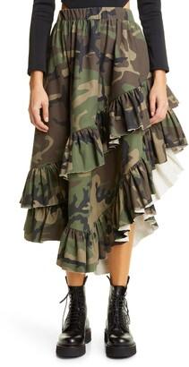 Vaquera Camo Print Ruffle Skirt