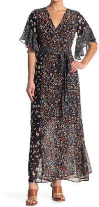 Love Stitch Floral Wrap Flutter Sleeve Maxi Dress