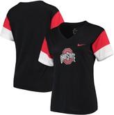 Nike Women's Black/Scarlet Ohio State Buckeyes Breathe Team Sleeve Performance V-Neck T-Shirt
