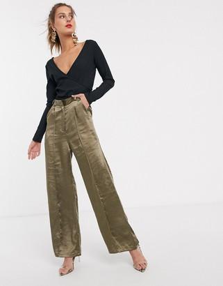 UNIQUE21 satin tailored pants-Green