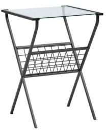 "Walker Edison 17"" Modern Metal and Glass Side Table with Magazine Holder"