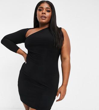 Club L London Plus slash neck one shoulder mini dress in black
