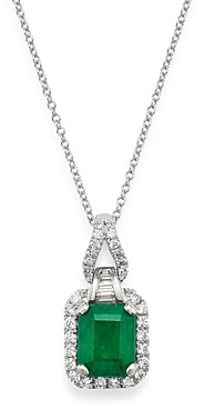 Bloomingdale's Emerald & Diamond Pendant Necklace in 14K White Gold, 18 - 100% Exclusive