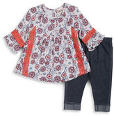 Little Lass Baby Girls Floral Tunic and Leggings Set