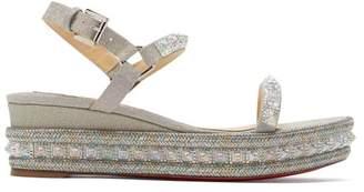 Christian Louboutin Pyradiams 60 Glitter Wedge Sandals - Womens - Silver