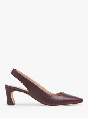 LK Bennett Honor Leather Slingback Court Shoes, Red Wine