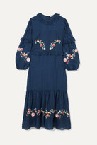Vilshenko Adeline Embroidered Cotton And Silk-blend Maxi Dress