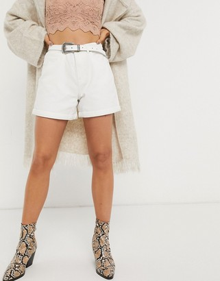 Only mom denim shorts in white
