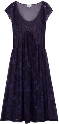 Collina Strada Purple Floral-print Mesh Maxi Dress