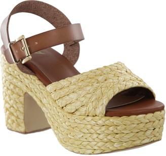 Mia Raffia Block-Heel Platform Sandals - Whitney